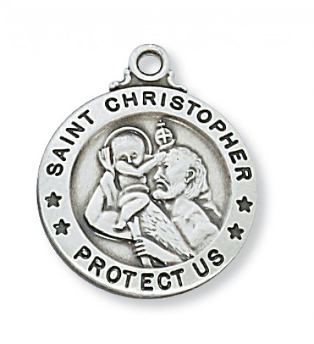 "Sterling Silver St. Christopher with 20"" Chain"
