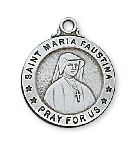 "Sterling Silver St Maria Faustina with 20"" Chain"
