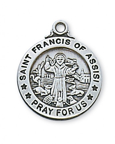 "Sterling Silver St. Francis 20"" Chain & Box"