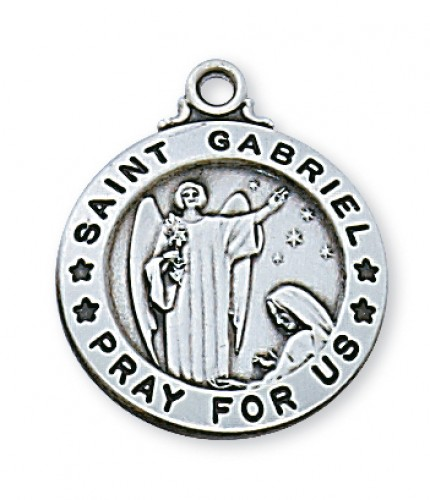 "Sterling Silver St. Gabriel with 20"" Chain"