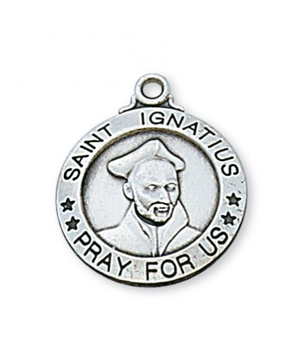 "Sterling Silver St. Ignatius 20"" Chain&Box"