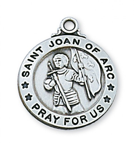 "Sterling Silver St. Joan Of Arc with 20"" Chain"