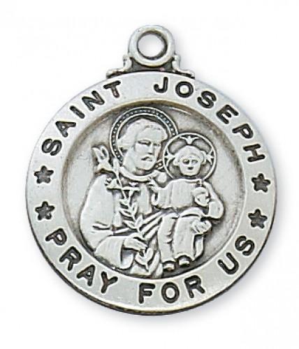 "Sterling Silver St. Joseph 20"" Chain & Box"