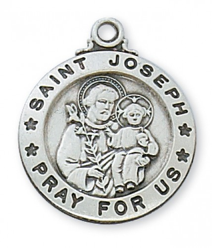 "Sterling Silver St. Joseph 20"" Chain & Box"
