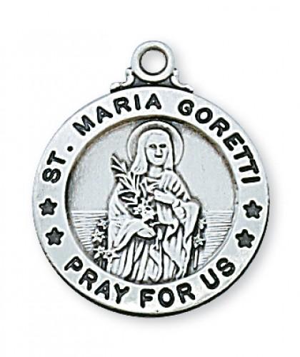 "Sterling Silver St. Maria Goretti with 20"" Chain"