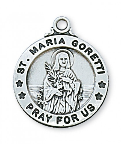 "Sterling Silver St. Maria Goretti with 20"" Chain"