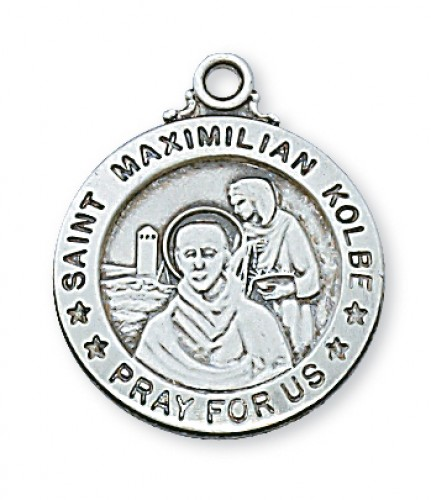 "Sterling Silver St. Max Kolbe with 20"" Chain"