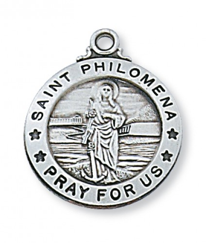 "Sterling Silver St. Philomena with 20"" Chain"