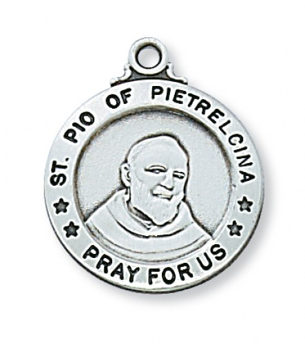 "Sterling Silver St. Padre Pio 20"" Chain&Box"