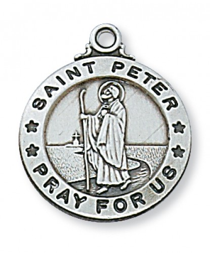 "Sterling Silver St. Peter with 20"" Chain"