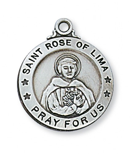 """Sterling Silver St. Rose Of Lima with 20"""" Chain"""