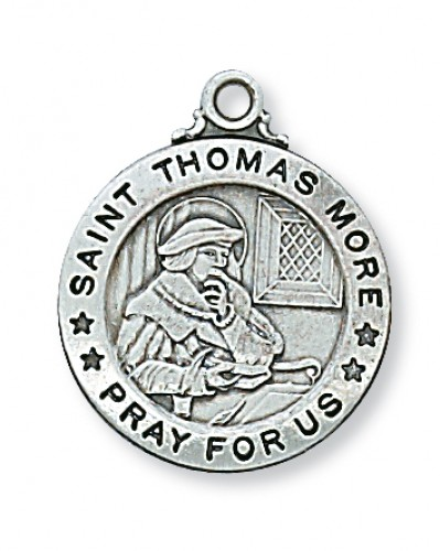 "Sterling Silver St. Thomas More  with 20"" Chain"