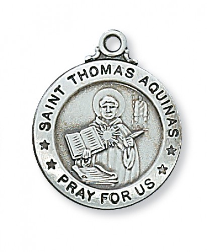 "Sterling Silver St Thomas Aquinas with 20"" Chain"