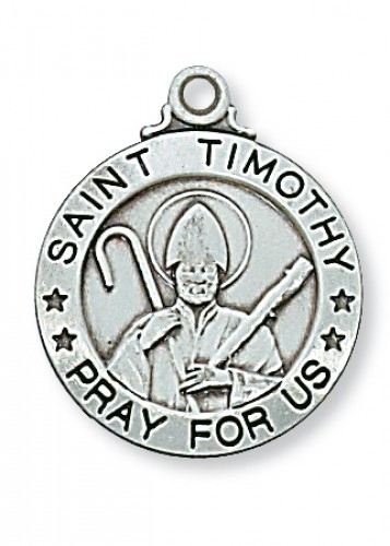 "Sterling Silver St. Timothy 20"" Chain & Box"