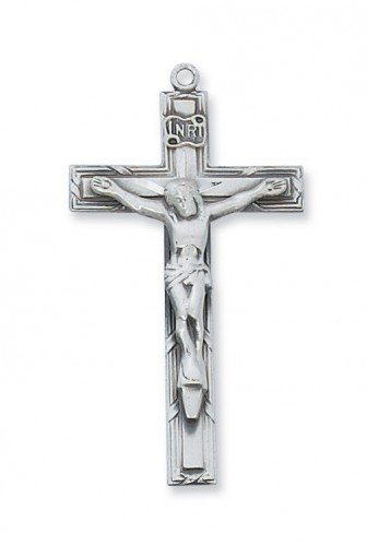 "Sterling Silver Crucifix with 24"" Chain"