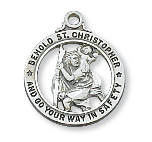 "Sterling Silver St. Christopher Open Rd Medal 20"","