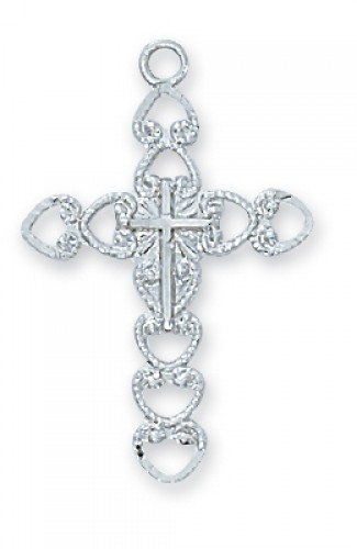 "Sterling Silver Cross with 18"" Chain"