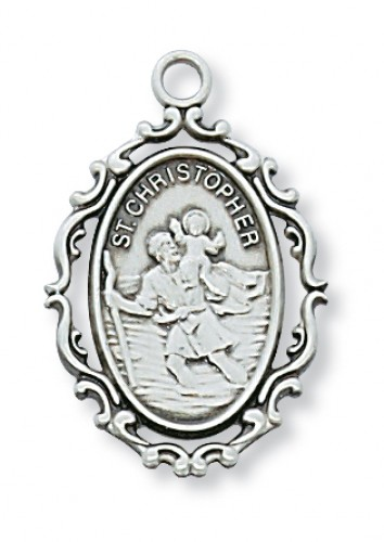 """Sterling Silver Christopher with 18"""" Chain"""
