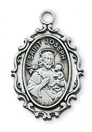 "Sterling Silver St Joseph with 18"" Chain"