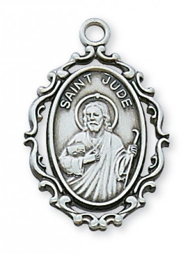 """Sterling Silver St Jude with 18"""" Chain"""