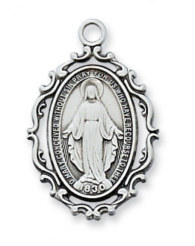 "Sterling Silver Miraculous with 18"" Chain"
