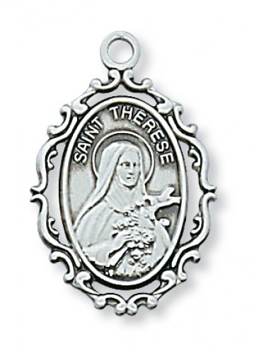 "Sterling Silver St Therese L/F with 18"" Chain"