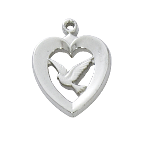 "Sterling Silver Heart with Dove, with 18"" Chain"