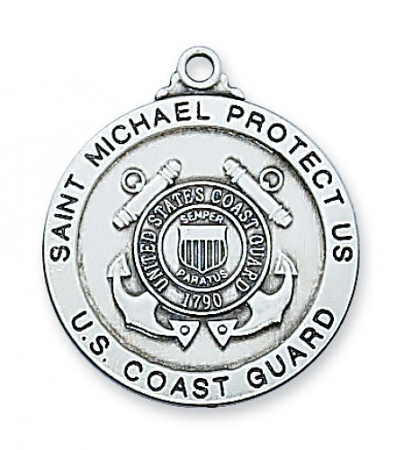 Sterling Silver Coast Guard Medal 24 Chain""