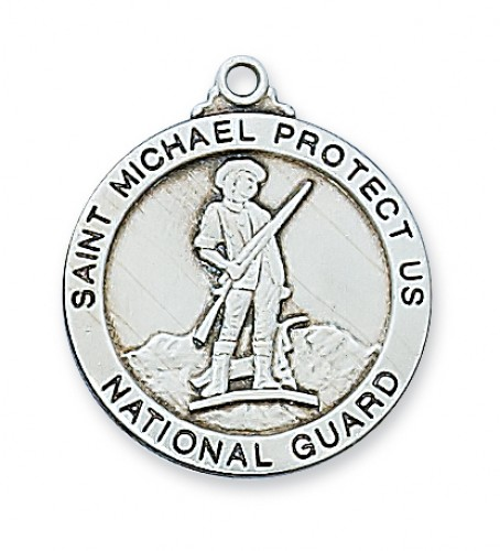 "Sterling Silver National Guard Medal 24"" chain"""