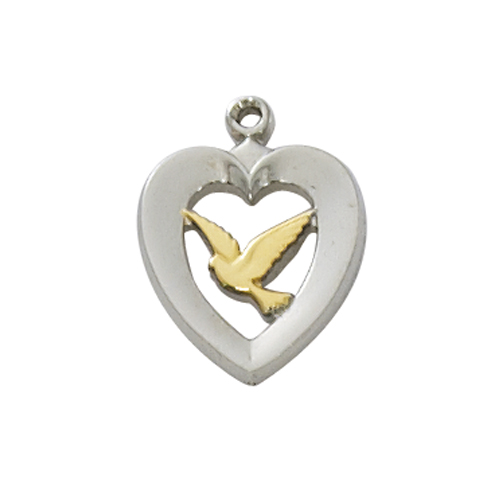 "Sterling Silver Tutone Heart with Dove 18""Ch&B"