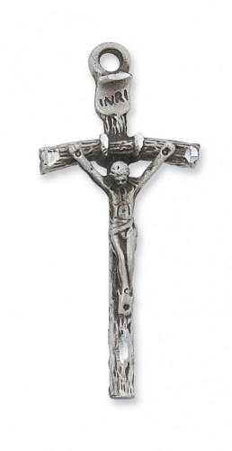 "Sterling Silver Papal Crucifix with 24"" Chain"
