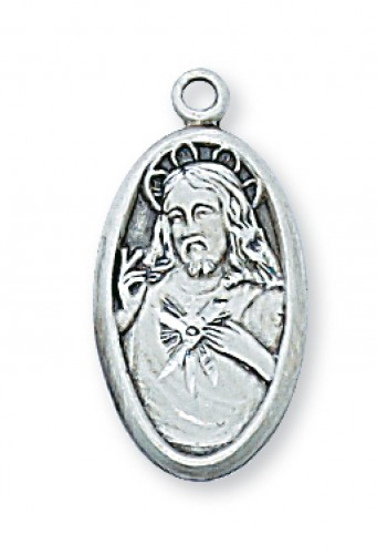 """Sterling Silver Scapular Medal with 18"""" Chain"""