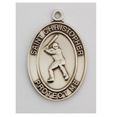 Sterling Silver Baseball Medal with Chain