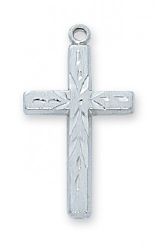 "Sterling Silver Eng Cross with 18"" Chain"