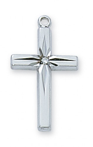 """Sterling Silver Cubic Zirconia Cross with  with 18"""" Chain"""