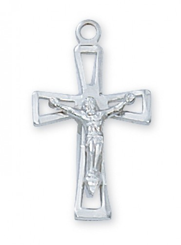 "Sterling Silver Crucifix with 18"" Chain"