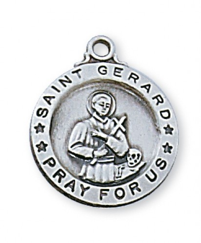 "Sterling Silver  St. Gerard with 18"" Chain"
