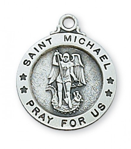 "Sterling Silver St. Michael  18 Ch&B"""