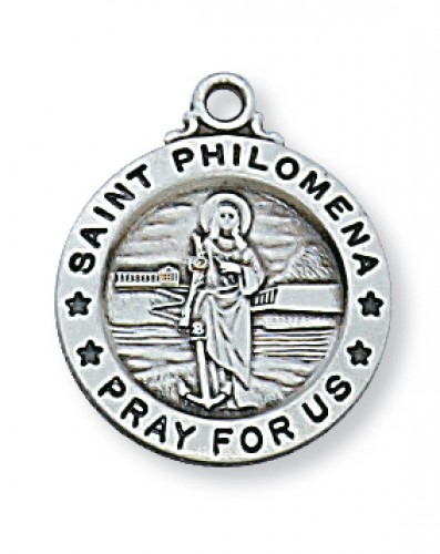 Sterling Silver St Philomena  18-inch Chain and Box