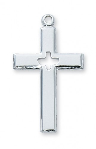 "Sterling Silver Cross 18"" Chain & Box"""