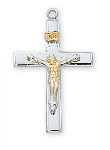 "Sterling Silver Tutone Crucifix with 18"" Chain"