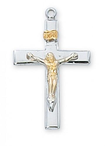 Ster. Silver Tutone Crucifix