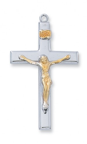 "Sterling Silver Tutone Crucifix with 24"" Chain"
