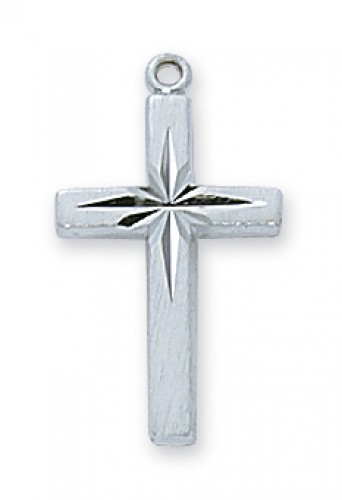 """Sterling Silver Eng Cross with 18"""" Chain"""
