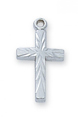 "Sterling Silver Baby Cross With 13"" Chain"