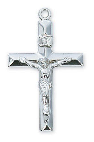 """Sterling Silver Crucifix with 24"""" Chain"""