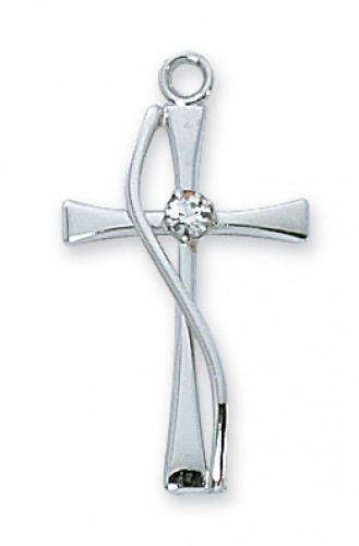 "Sterling Silver Cross with Stone with 18"" Chain"