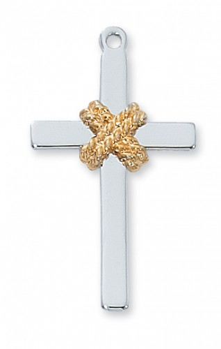 """Sterling Silver Cross/Rope with 24"""" Chain"""