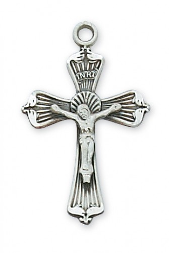 Sterling Silver Crucifix  18-inch Chain & Box""
