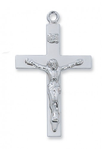 "Sterling Silver Lords Prayr Crucifix, 24"" chain &Bx"""